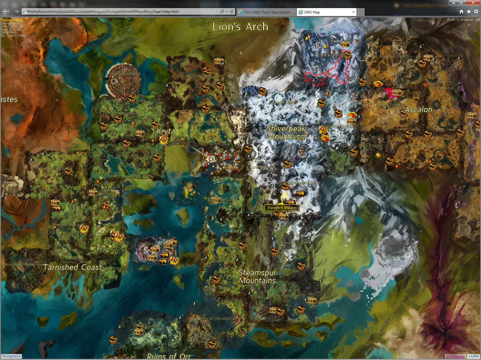 Tim's GW2 Tool's Description on blue mountains forest map, gendarran fields map, caledonian forest map, lornar's pass map, rata sum map, sparkfly fen map, ad d city map, iron marches map, ruins of orr map, timberline falls map, kessex hills map, winter wonderland map, brisban wildlands map, guild wars map, fireheart rise map, canada forest map, malchor's leap map, ontario forest map, straits of devastation map,
